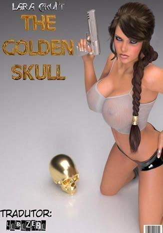 Lara Croft e caveira dourada